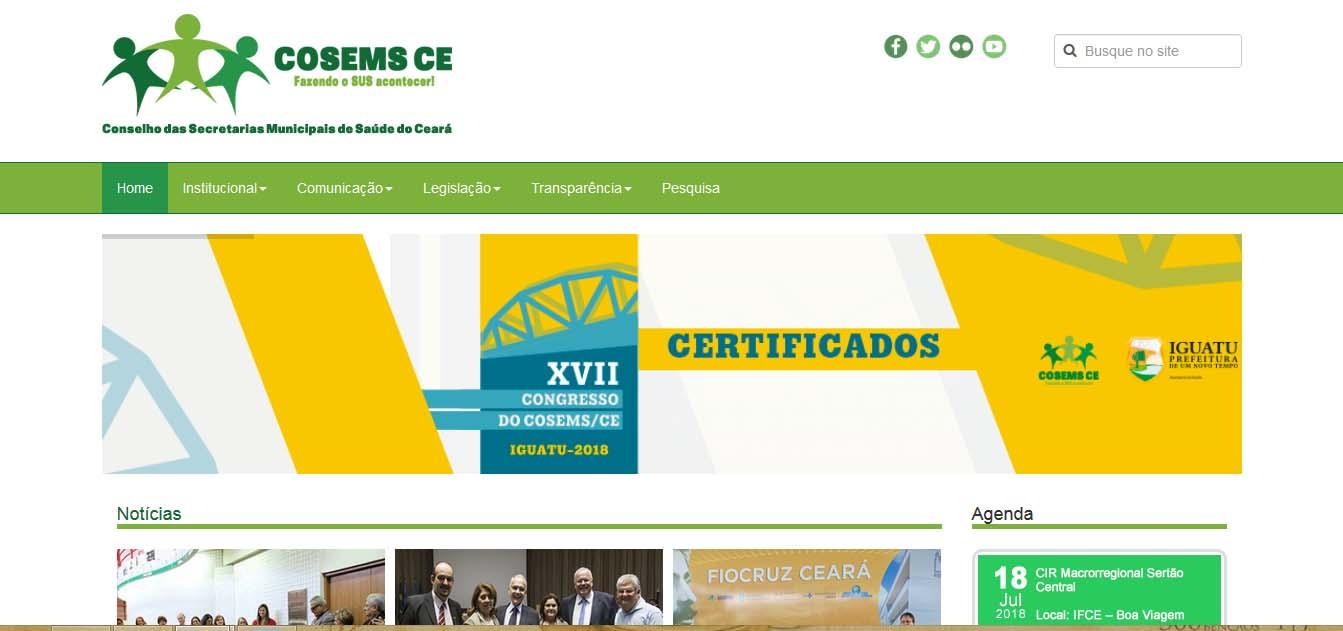 desenvolvimento e criação do website cosemsce.org.br